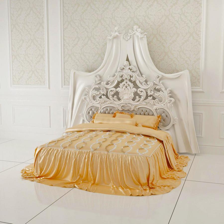 欧式白色雕花奢华双人床模型