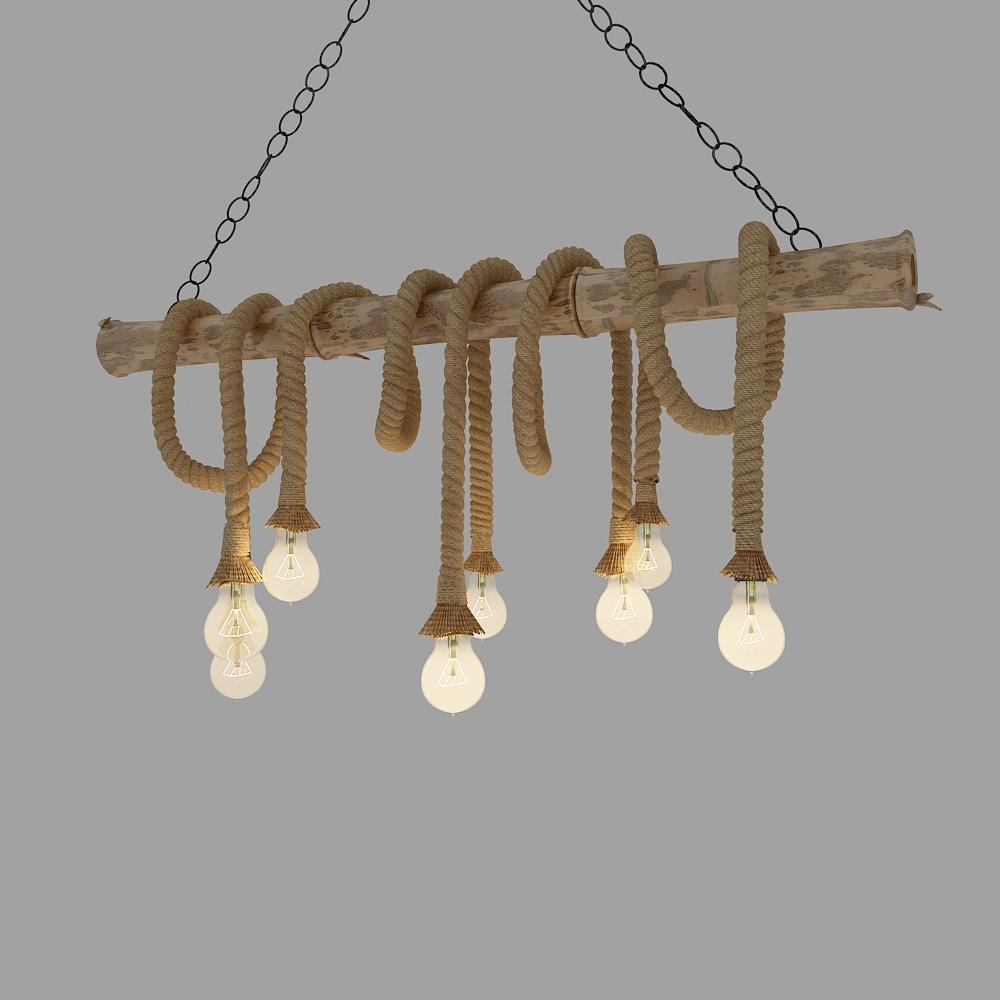 工业风麻绳装饰灯模型