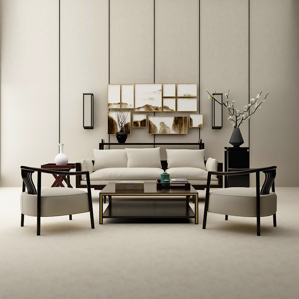 新中式沙发椅子组合模型