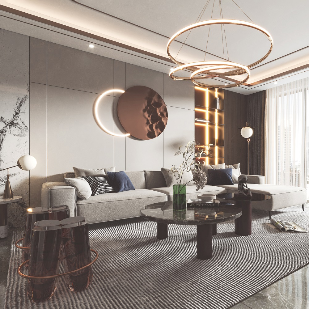 现代客餐厅沙发餐桌电视柜模型